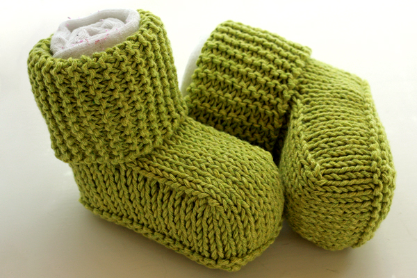 Green knitted booties