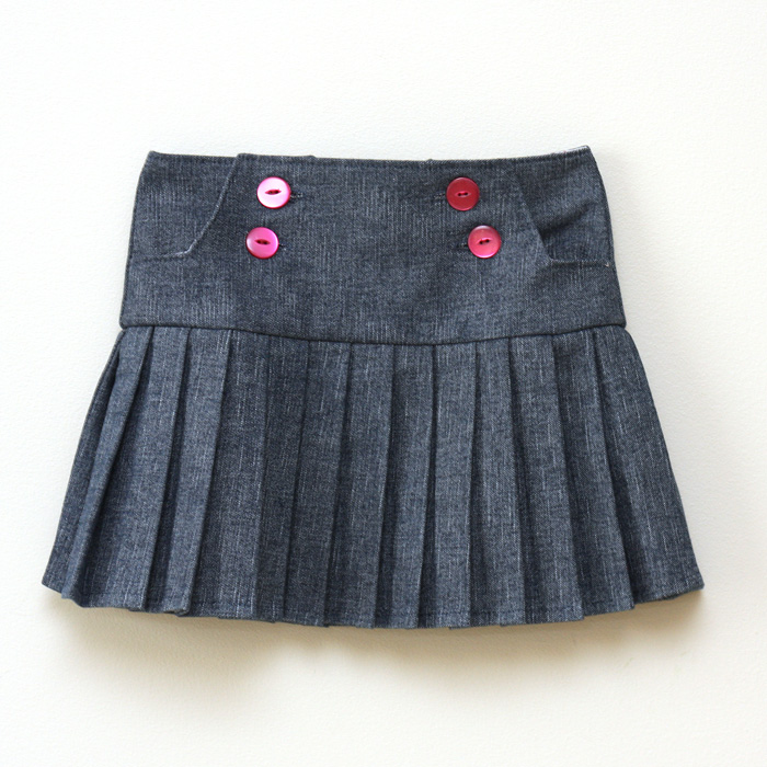 Cute buttons and pleats - Schoolday Skirt by Blank Slate Patterns sewn by Things for Boys